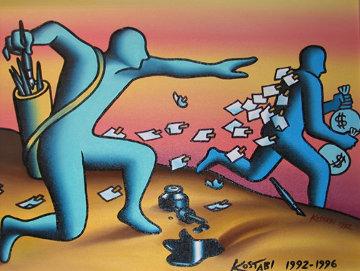 Overnight Mail 1992 20x24 Original Painting by Mark Kostabi