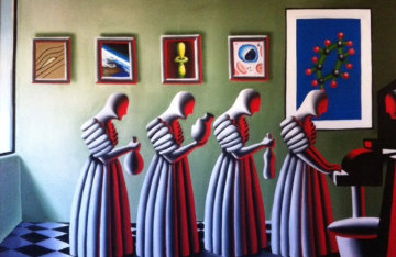 Student Loan 1988 56x80 Huge Original Painting - Mark Kostabi