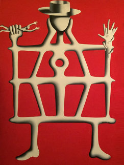 Structural Engineer 1988 73x55 Super Huge Original Painting - Mark Kostabi