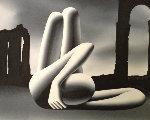 Stretching Towards the Eternal City 127x34 1999 Original Painting - Mark Kostabi