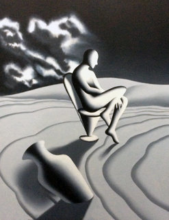Riddle of Night And Day 1999 42x32 Super Huge Original Painting - Mark Kostabi
