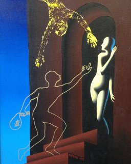 Multiple Transparencies 1997 33x39 Original Painting - Mark Kostabi