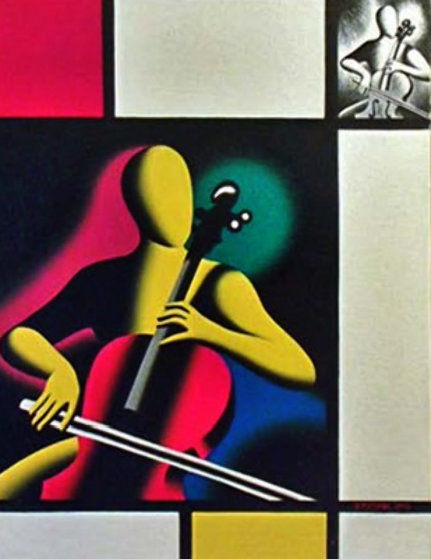 Mostly Mondrian 1998 27x21 Original Painting by Mark Kostabi