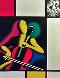 Mostly Mondrian 1998 27x21 Original Painting by Mark Kostabi - 0