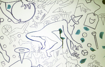 Untitled Early Drawing 1998 66x121 Huge Drawing - Mark Kostabi