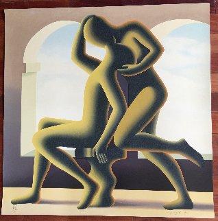 Golden Kiss 1995 Huge 43x43 Limited Edition Print - Mark Kostabi