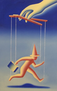 Control Freak 1992 21x29 Original Painting - Mark Kostabi