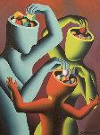 Bit By Bit 1992 23x29 Original Painting - Mark Kostabi