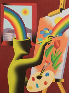 Rainbow Vision 1992 23x29 Original Painting - Mark Kostabi