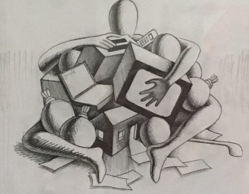 American Victim Drawing 2002 13x14 Drawing by Mark Kostabi