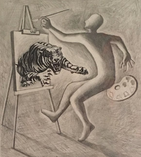 Les Fauves Drawing 1991 15x16 Drawing by Mark Kostabi