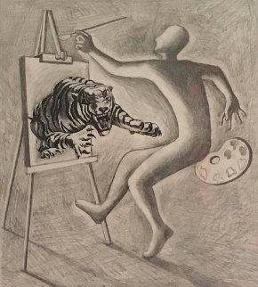 Les Fauves Drawing 1991 15x16 Drawing - Mark Kostabi