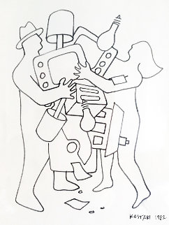 Study For Materialism II 1982 Drawing by Mark Kostabi
