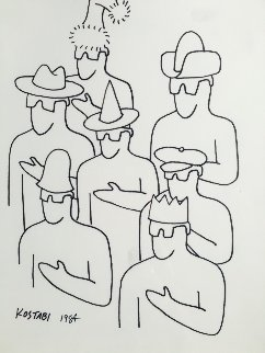 Analysis of Meaning Drawing 1984 11x14  Drawing by Mark Kostabi