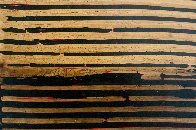 Untitled (Linear Ebony Ash Mixed Media Panel), from Curtain series 36x48 Super Huge Original Painting by Kris Cox - 1