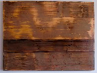 Untitled (Linear Ebony Ash Mixed Media Panel), from Curtain series 36x48 Super Huge Original Painting by Kris Cox - 3