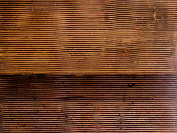 Untitled (Linear Ebony Ash Mixed Media Panel), from Curtain series 36x48 Huge Original Painting - Kris Cox