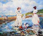 Rebecca Et Sarah a La Plage 2001 Original Painting - Katia Pissarro