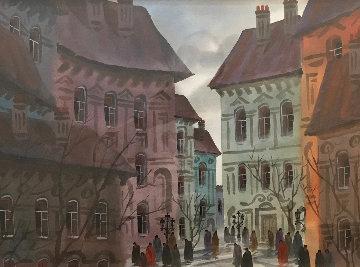 Buildings of Paris Watercolor  28x34 Watercolor - Anatole Krasnyansky