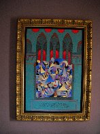 Teal And Gold With Red Arches 2005 Embellished Limited Edition Print by Anatole Krasnyansky - 1