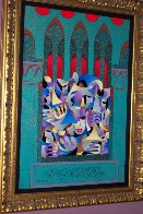 Teal And Gold With Red Arches 2005 Embellished Limited Edition Print by Anatole Krasnyansky - 2