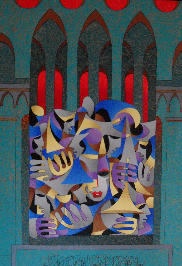 Teal And Gold With Red Arches 2005 Embellished Limited Edition Print by Anatole Krasnyansky