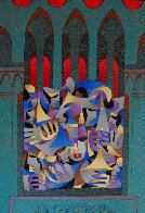Teal And Gold With Red Arches 2005 Embellished Limited Edition Print by Anatole Krasnyansky - 0