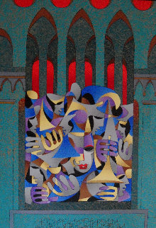 Teal And Gold With Red Arches 2005 Embellished Limited Edition Print - Anatole Krasnyansky