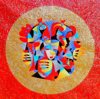 Circle of Friends Watercolor 2006 40x40 Super Huge Original Painting - Anatole Krasnyansky
