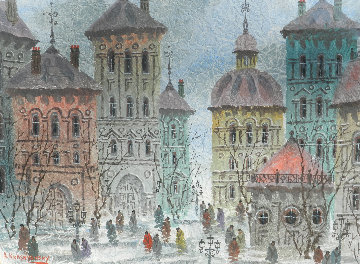 Paris Afternoon 1992 31x37 Original Painting - Anatole Krasnyansky
