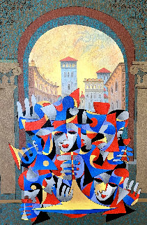 Teal and Bronze Overlooking the City 2005 Embellished Limited Edition Print - Anatole Krasnyansky