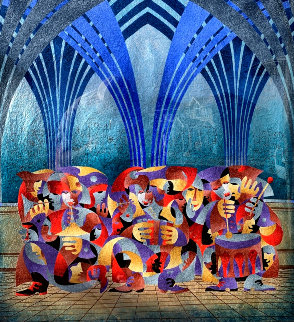 Orchestra With Arches 2008 51x49 Original Painting - Anatole Krasnyansky