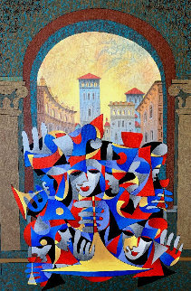Teal and Bronze Overlooking the City 2005 Limited Edition Print - Anatole Krasnyansky