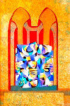 Gold & Teal With Red Arches 2004 Limited Edition Print - Anatole Krasnyansky