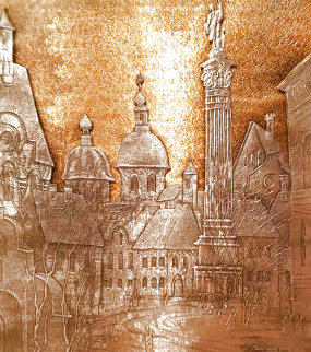 Stare Miastro, Old Warsaw, Pewter and Bronze Wall Sculpture 2001 9x8 Sculpture - Anatole Krasnyansky
