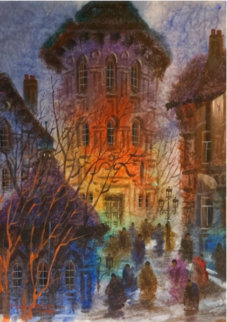 Old Tower - Zogreb Watercolor 1980 35x28 Watercolor - Anatole Krasnyansky