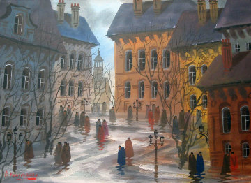 Street of Aubers Watercolor 17x23 Watercolor by Anatole Krasnyansky