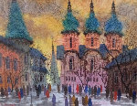 Old Cathedral Watercolor 17x23 Watercolor - Anatole Krasnyansky