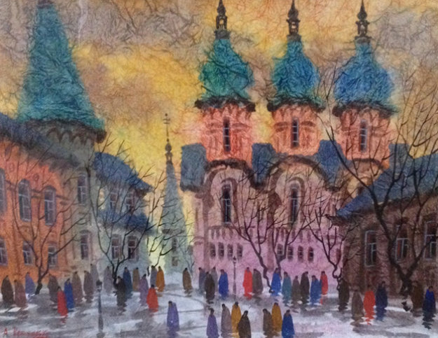 Old Cathedral Watercolor 17x23 Watercolor by Anatole Krasnyansky