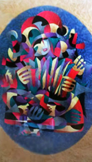 Accordion III Watercolor 2000 61x49 Original Painting - Anatole Krasnyansky
