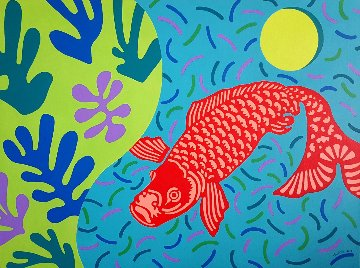 Koi Who Swam Through David Hockney''s Pool to the Land of Matisse 2012 36x48 Original Painting - Martin Kreloff