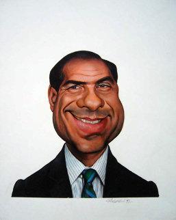 Silvio Berlusconi 1992 17x13 Original Painting - Sebastian Kruger