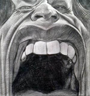 Jagger's Lips Drawing 2007 24x21 Drawing by Sebastian Kruger