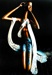 Princess of Peacocks Bronze Sculpture 1989 18 in  Sculpture by Shao Kuang Ting