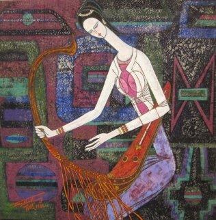 Serenade 1988 40x40 Huge Original Painting - Shao Kuang Ting
