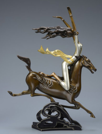 Super Horse Bronze Sculpture 2014 22 c gold Sculpture by Shao Kuang Ting
