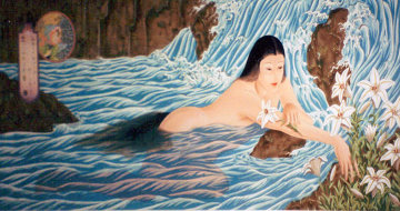 Lilies In Stream Limited Edition Print by Muramasa Kudo