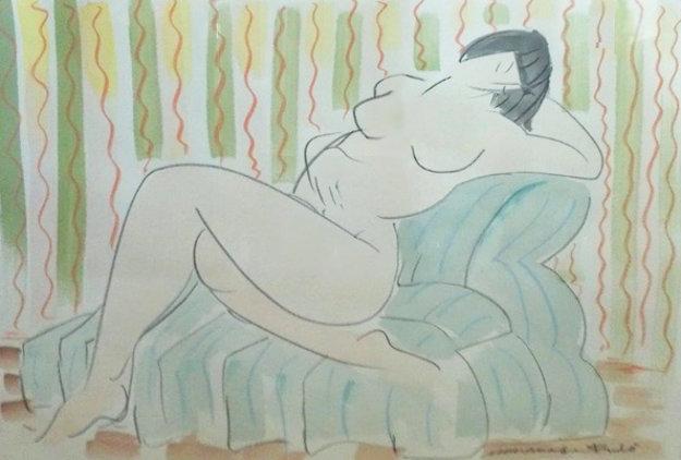 Nude Lady Reclining Watercolor 1987 26x33 Watercolor by Muramasa Kudo