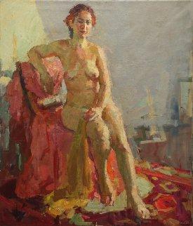 Nude in a Sunny Room 1950 39x33 Original Painting - Olga Kulagina