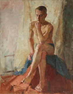 Sitting Boy 1960 34x27 Original Painting - Olga Kulagina